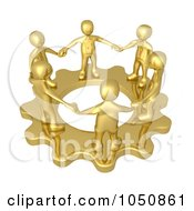 Royalty Free RF Clip Art Illustration Of A 3d Gold Man Team Holding Hands On A Gear Cog