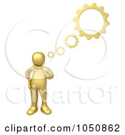 Royalty Free RF Clip Art Illustration Of A 3d Gold Man Thinking With Gears by 3poD