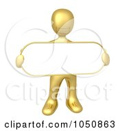 Royalty Free RF Clip Art Illustration Of A 3d Gold Man Holding A Blan Sign by 3poD