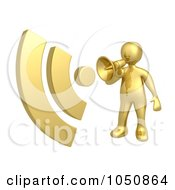 Royalty Free RF Clip Art Illustration Of A 3d Gold Man Announcing RSS With A Megaphone by 3poD