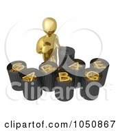 Royalty Free RF Clip Art Illustration Of A 3d Gold Man Recycling And Sorting Garbage by 3poD