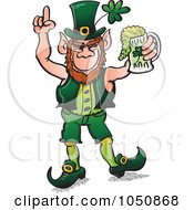 Royalty Free RF Clip Art Illustration Of A St Patricks Day Leprechaun Celebrating With Beer