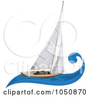 Royalty-Free (RF) Clip Art Illustration of a Sailboat On A Blue Wave by Paulo Resende