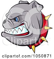 Growling Bulldog In A Red Spiked Collar