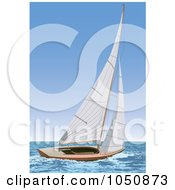 Royalty Free RF Clip Art Illustration Of A Sailboat At Sea