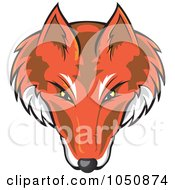 Royalty Free RF Clip Art Illustration Of A Fox Face Logo by Paulo Resende