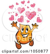 Royalty Free RF Clip Art Illustration Of An Orange Blinky Running With Hearts by MilsiArt