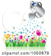 Royalty Free RF Clip Art Illustration Of A 3d Watering Can Over A Flower Garden