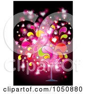 Royalty Free RF Clip Art Illustration Of A Love Potion Splashing Out Of A Cocktail Glass by MilsiArt