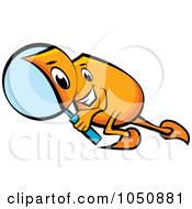 Royalty Free RF Clip Art Illustration Of An Orange Blinky Searching With A Magnifying Glass