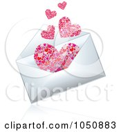 Royalty-Free (RF) Clip Art Illustration of a 3d Love Letter Envelope With Emerging Hearts by MilsiArt