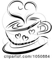 Royalty Free RF Clip Art Illustration Of A Black And White Sketched Heart Over A Coffee Cup by MilsiArt