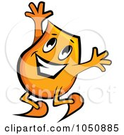 Royalty Free RF Clip Art Illustration Of An Orange Blinky Jumping