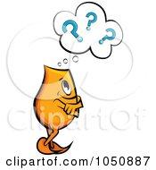 Royalty Free RF Clip Art Illustration Of An Orange Blinky Pondering