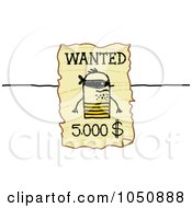 Royalty Free RF Clip Art Illustration Of A Wanted Stick Man Poster by NL shop