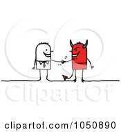 Royalty Free RF Clip Art Illustration Of A Stick Businessman Shaking Hands With A Devil