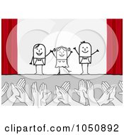 Royalty Free RF Clip Art Illustration Of Hands Applauding Stick Actors On Stage
