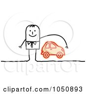 Stick Businessman Reaching Over A Car Auto Insurance