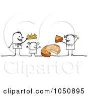 Royalty Free RF Clip Art Illustration Of A Stick Family Sharing Cheese by NL shop