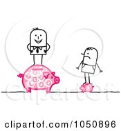 Royalty Free RF Clip Art Illustration Of A Stick Businessman Standing On A Big Piggy Bank A Poor Man Standing On A Little One