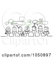 Royalty Free RF Clip Art Illustration Of A Group Of Stick Medical People Chatting