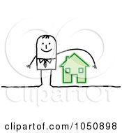 Royalty Free RF Clip Art Illustration Of A Stick Insurance Agent Businessman Reaching Over A House