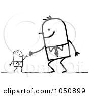 Royalty Free RF Clip Art Illustration Of A Big Stick Businessman Shaking Hands With An Employee