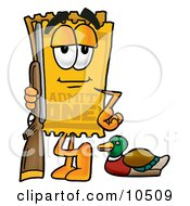 Yellow Admission Ticket Mascot Cartoon Character Duck Hunting Standing With A Rifle And Duck
