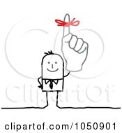 Royalty Free RF Clip Art Illustration Of A Stick Businessman Wearing A Reminder Ribbon by NL shop