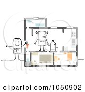 Royalty Free RF Clip Art Illustration Of A Stick Real Estate Agent Showing A Home To A Single Mother by NL shop