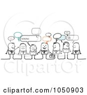 Royalty Free RF Clip Art Illustration Of A Group Of Business Stick People Chatting