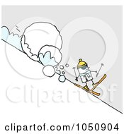 Royalty Free RF Clip Art Illustration Of A Stick Man Skiing In Front Of A Giant Snowball by NL shop