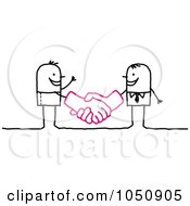 Royalty Free RF Clip Art Illustration Of A Stick Businessman Shaking Hands With A Client