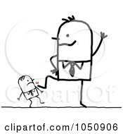 Royalty Free RF Clip Art Illustration Of A Big Stick Businessman Kicking A Colleague by NL shop