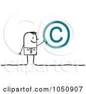 Royalty Free RF Clip Art Illustration Of A Stick Businessman Holding A Copyright Symbol