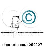 Stick Businessman Holding A Copyright Symbol