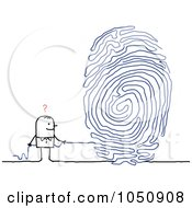 Royalty Free RF Clip Art Illustration Of A Stick Man Pulling A String Fingerprint by NL shop