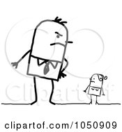 Royalty Free RF Clip Art Illustration Of An Angry Stick Man Looming Over His Wife by NL shop