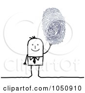 Royalty Free RF Clip Art Illustration Of A Stick Businessman Holding Up A Finger Print by NL shop