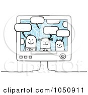 Royalty Free RF Clip Art Illustration Of A Stick Family Chatting In A Computer