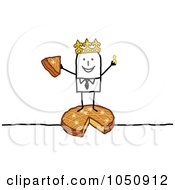 Royalty Free RF Clip Art Illustration Of A King Stick Man Standing On Cheese by NL shop
