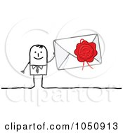 Royalty Free RF Clip Art Illustration Of A Stick Businessman Holdin A Sealed Envelope by NL shop