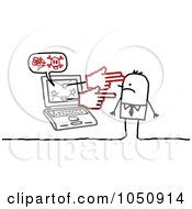 Royalty Free RF Clip Art Illustration Of A Stick Businessman Being Targeted By A Cyber Bully 1 by NL shop