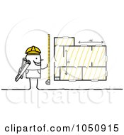 Royalty Free RF Clip Art Illustration Of A Stick Architect Measuring Blueprints