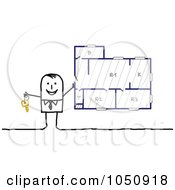 Royalty Free RF Clip Art Illustration Of A Stick Real Estate Agent Selling A Plan by NL shop