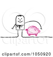 Stick Businessman Reaching Over A Piggy Bank