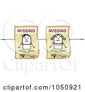 Royalty Free RF Clip Art Illustration Of Missing Stick Boy And Girl Signs