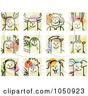 Royalty Free RF Clip Art Illustration Of A Digital Collage Of Chinese Zodiac Stick Squares