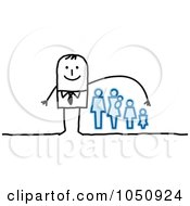 Royalty Free RF Clip Art Illustration Of A Stick Health Insurance Businessman Reaching Over A Family
