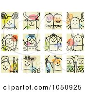 Royalty Free RF Clip Art Illustration Of A Digital Collage Of Astrology Stick Squares